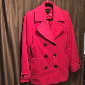 Super Cute Land's End Fuscia Pink Women's Peacoat